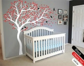 White Tree Wall Decal Huge Tree wall decal Wall Mural Stickers Nursery Tree and Birds Wall Art Tattoo Nature Wall Decals Decor - 099