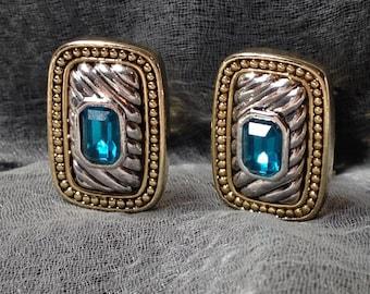 Vintage Napier Earrings, Aquamarine Rhinestone, Two Tone, Clip on, Screwback, Signed