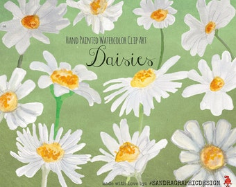 "Clip art: ""DAISIES""  hand painted watercolor flowers, 12 clipart 300 dpi PNG  files (5019)"