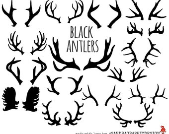 Black antler clip art, with 16 hand drawn antlers, 300 dpi PNG  files (5169)