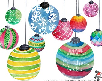 """Christmas clip art: """"CHRISTMAS ORNAMENTS""""  hand painted watercolor Christmas baubles, 10 clip art 300 dpi PNG files (5182)"""