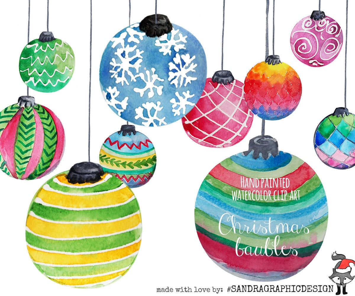 Peruvian christmas ornaments - Christmas Clip Art Christmas Ornaments Hand Painted Watercolor Christmas Baubles 10 Clip Art 300 Dpi Png Files 5182