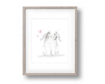 Bunny Nursery Art, Pencil Drawing, Rabbit Sketch, Baby Girl Nursery Decor, Pink Animal Print, Farm Animal, Childrens Wall Art, Butterfly