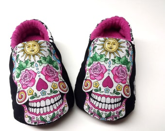 Halloween Sugar Skulls Baby Shoes,Skull Baby Shoes,Day of The Dead,Rockabilly,Dia De Los Muertos,Soft Sole Baby Girl, Baby boy skull shoes