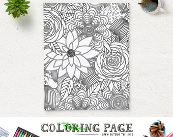 sale coloring page printable floral pattern adult printable coloring book adult antistress art therapy instant download - Therapy Coloring Pages Printable