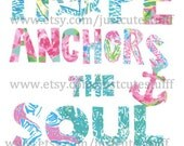 "NEW! Lilly Pulitzer quote ""Hope anchors the soul"" digital file! Print it yourself instantly!"