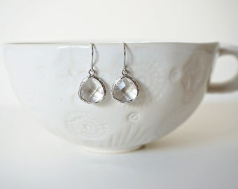 Clear Crystal and Silver Gem Earrings | Bridesmaid Earrings | Wedding Jewelry