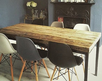 Reclaimed Industrial Chic 6 8 Seater Solid Wood And Metal Dining Table 058 Bar