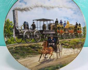 """Vintage 1988 """"Competition"""" Collectible Plate Designed by J. B. Deneen for Artaffects, 8th Issue in the Classic American Trains Series"""