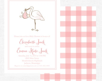 Girl stork baby shower invitation-FREE SHIPPING or DIY printable