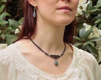 Braided shape with short leather necklace and gemstone pendant labradorite