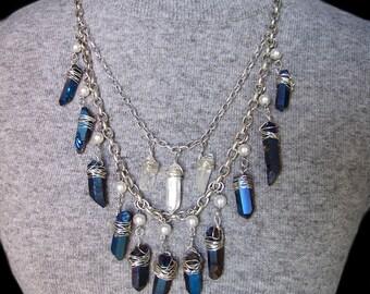 LADY of the LAKE Nimue Merlin Blue Titanium Aura Quartz Clear Silver Necklace