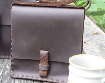 CSherwoodLeather Chocolate Brown Handmade Cross Body Purse, Handbag, Rustic Small Messenger Bag, with Brass Buckle