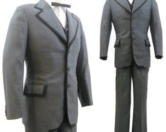 Vintage 60s 70s Suit Men's Mod 3 Piece Two Tone Grey Black Jacket Vest Pants 38