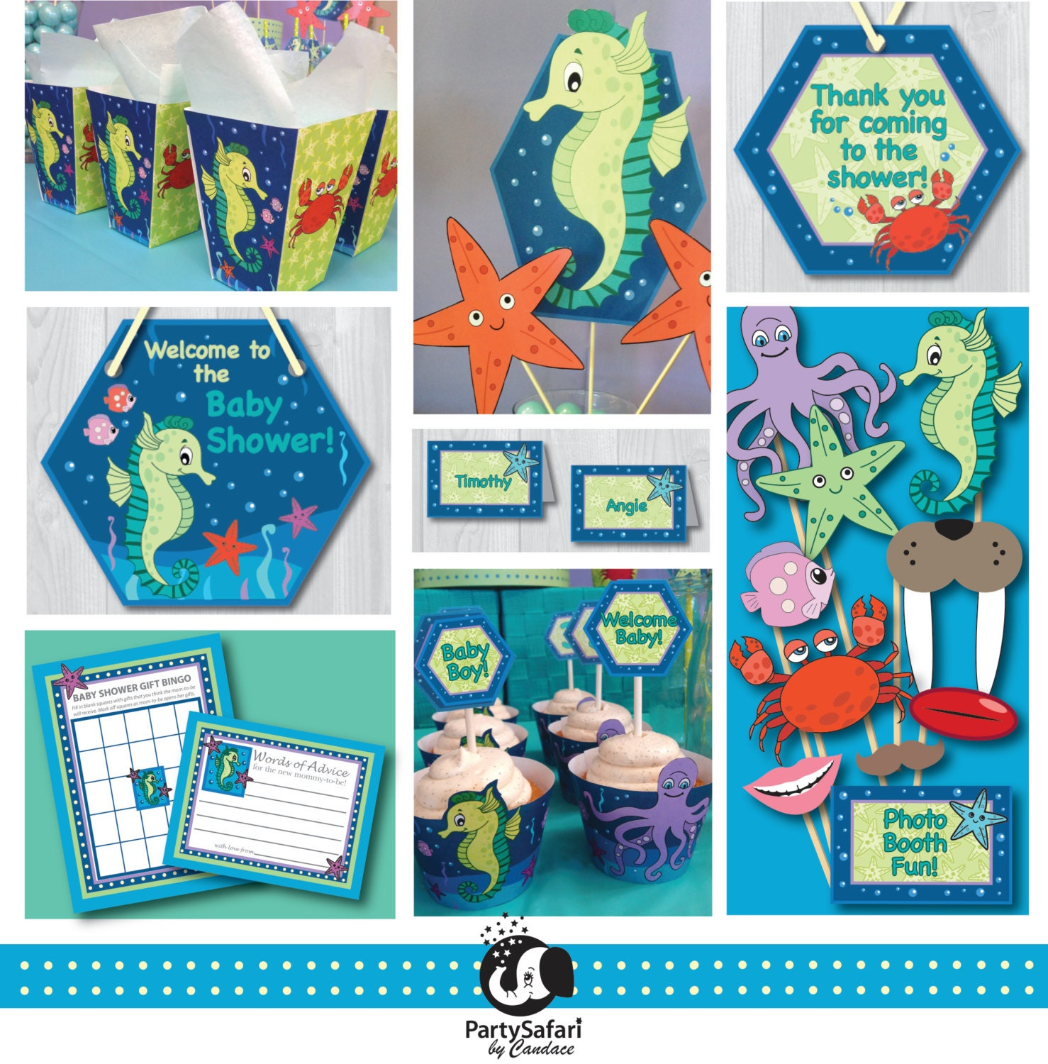 seahorse printable baby shower package under the sea baby