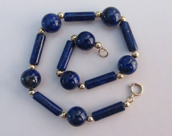 "14k Gold AAA Afghani Lapis Lazuli and 14k Gold Beads Bracelet 8"" - 9.37g"