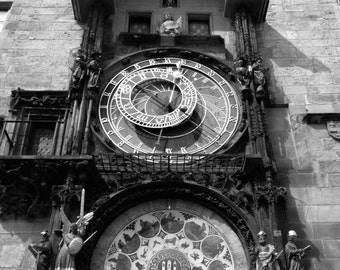 Prague Photography, Prague Art, Prague Print,  Prague Astronomical Clock, Czech Republic Photography, Prague Black and White