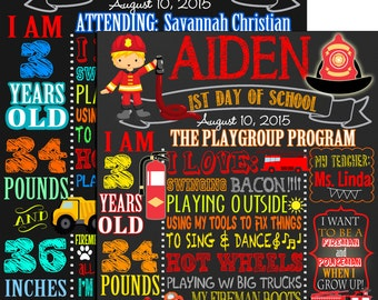 Boys first day of school sign, fireman back to school poster file, 1st day of school fireman themed, custom back to school item FREE 8x10