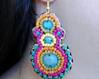 Multi Colored Beaded Dangle Earrings.