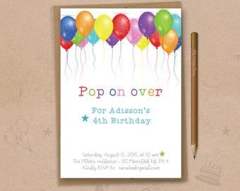"""Balloon birthday invitation, Balloons Party, Balloon birthday,PRINTABLE, 5""""x7"""", customized invite, Kids birthday invitation - KU002"""