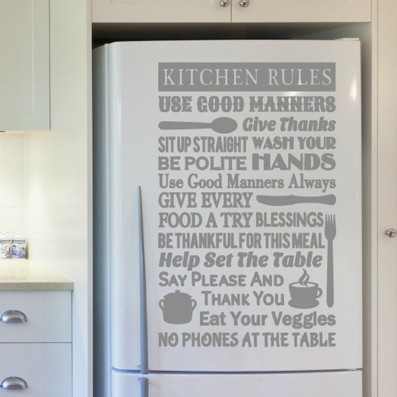 Kitchen Rules Sign: Kitchen Rules Sign Kitchen Decor Kitchen Rules By VinylWritten