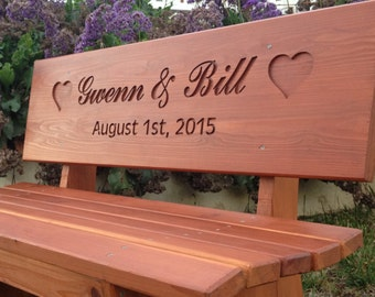 Wedding Bench - Custom Engraved Bench Cedar Stain
