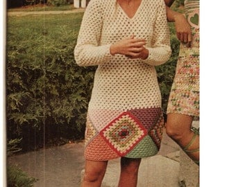 CROCHET DRESS PATTERN Vintage 70s Crochet Granny Square Dress Pattern Crochet Tunic Dress Pattern
