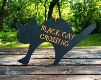 Black Cat Crossing,Halloween Sign,orange and black,handpainted wooden sign,decoration,Seasonal decor,Halloween decoration,black cats