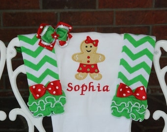 Baby Girl Christmas Outfit! Gingerbread Christmas outfit for baby girls/ Baby Girl First Christmas Outfit/Gingerbread Christmas Outfit