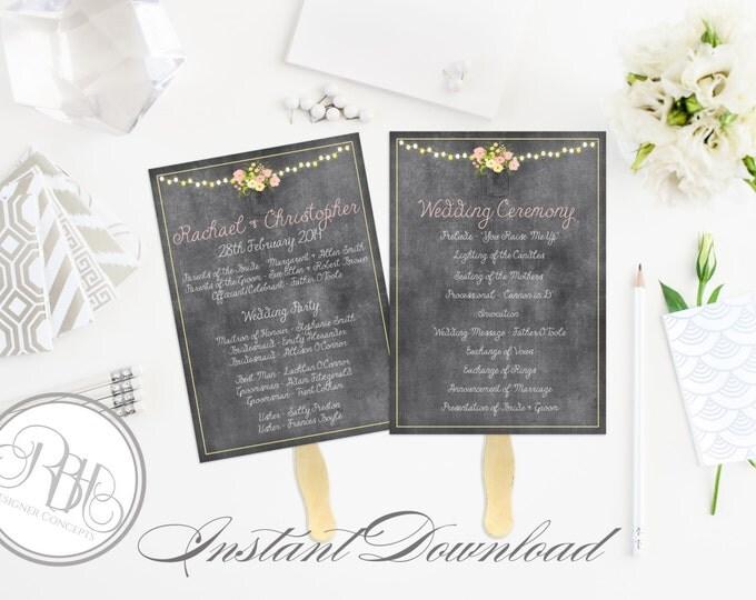 Rustic Wedding Program Fan Template -Instant DOWNLOAD - EDITABLE TEXT pdf Only - Chalkboard, Mason Jar, String Lights, 5 x 7-Yolanda