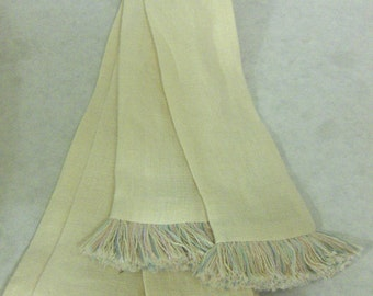 Butter Linen Sash w/Ivory, Baby Blue, Lavender, Peach & Pink Fringe for Pirate, Ren Faire, Cosplay