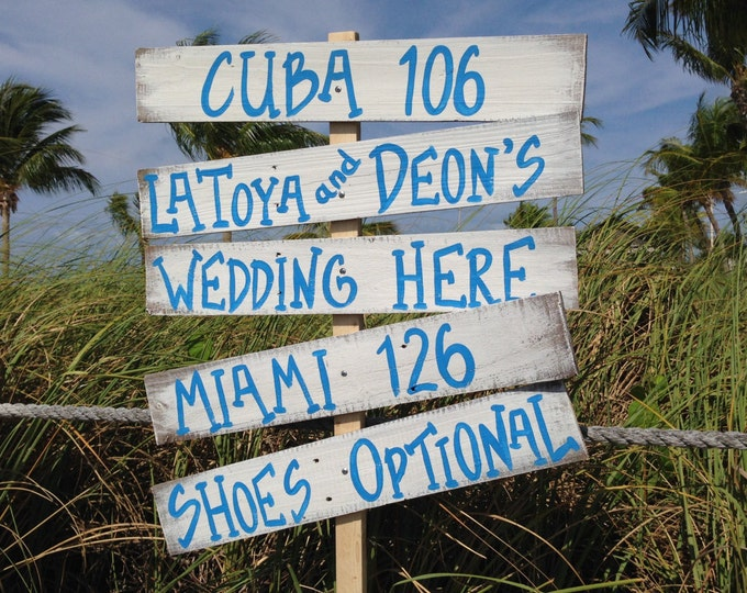 Directional Beach Sign, Rustic Wedding Sign, Beach Wedding Sign, Nautical Wedding Sign, Nautical Beach Sign