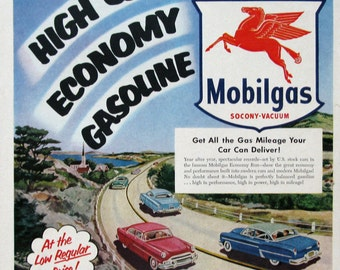 1953 Mobilgas Advertising - High Quality Economy Gasoline - Mobil Gas Ad - Country Highway with 1950s Classic Cars