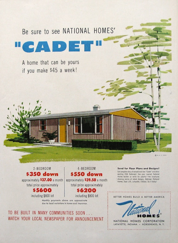 1953 National Homes Cadet House Advertisement Midcentury