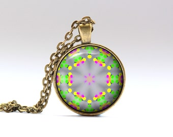 Art jewelry Geometry pendant Color necklace OWA147