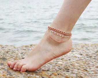 Bohème chaîne cheville - perle Pierre de lune & Or Rose chaine de cheville - bracelet de cheville en or Rose - Pierre de lune bracelet de cheville - bracelet de cheville Tribal - Boho cheville en couches