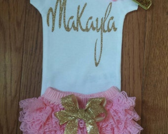 SALE all3 PCS SS 29.95 personalized name Onesie, Lace Bloomers, & Headband Set, baby girl, newborn, hospital outfit,take home set