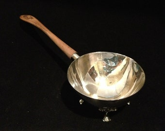 Silver Plate Footed Sauce Server with Wooden Handle by Bernard Rice's Sons, Inc