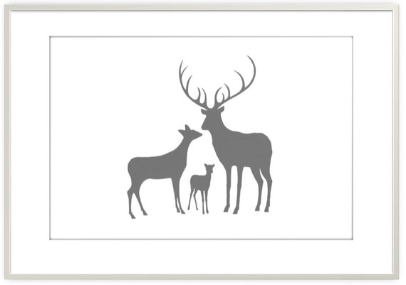 Art for nursery the animal print shop affordable nursery wall art - Woodland Deer Family Print Picture Of Deer By