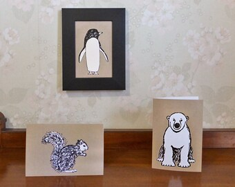 Penguin Note Card to send or frame, blank greeting card, nursery art, penguin illustration
