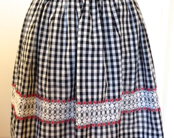 Vintage Black Gingham Apron with Cross Stitching / Size XS to S