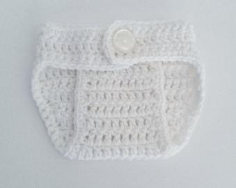 Crochet Diaper Cover in White