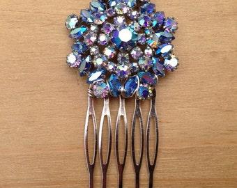 Antique Blue Star Vintage Hair Comb