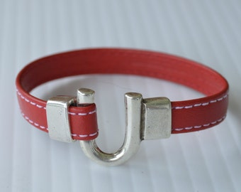 Red Stitched Leather Silver Horse Shoe Bracelet