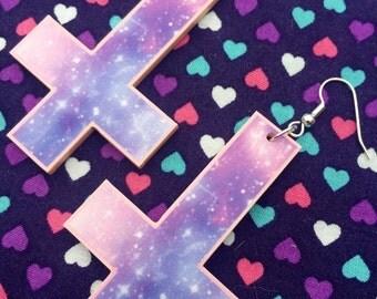 Pastel Galaxy Inverted Cross Earrings