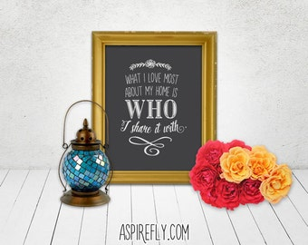 Home Decor Chalkboard Sign Printable Wall Art - What I love most about my home is who I share it with - hipster black white chalkboard art