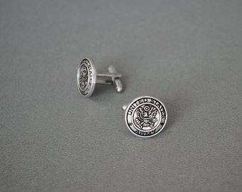Army Cufflinks Men's Cufflinks Military Cufflinks Support our Troops Cufflinks Antique Silver Gifts for Him Men's Gifts Wedding Gifts