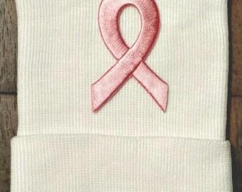 Newborn Hospital Hat - Hospital Hat - HOPE Hat - Breast Cancer Awareness Hat - Unisex Hat - Cancer Awareness Hat - Pink Ribbon Hopsital Hat