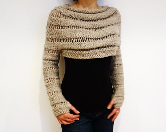Knitting Pattern - Oatmeal Cropped Thumb Hole Sweater/ Chunky Knit Shrug