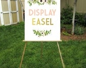 5ft Wood Floor Easel Lightweight Only Displays Foam Board or Canvas prints up to  24 x 36in Hand painted Gold White Black Wedding Event Sign